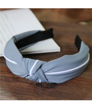 White Line Decorated Solid Color Women Hair Hoop - Light Blue
