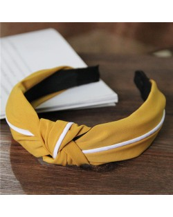 White Line Decorated Solid Color Women Hair Hoop - Yellow
