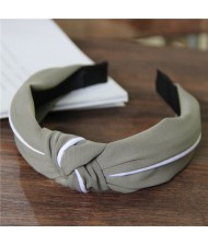 White Line Decorated Solid Color Women Hair Hoop - Army Green