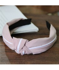 White Line Decorated Solid Color Women Hair Hoop - Pink