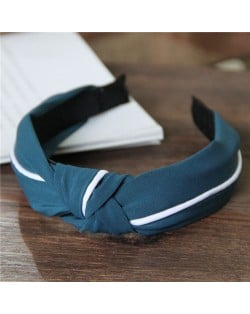 White Line Decorated Solid Color Women Hair Hoop - Teal