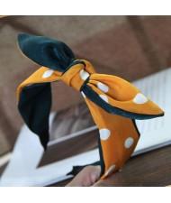 Podka Dot Bunny Ear Bowknot Fashion Cloth Hair Hoop - Green