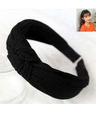 Velvet Texture Bowknot Design Fashion Cloth Hair Hoop - Black