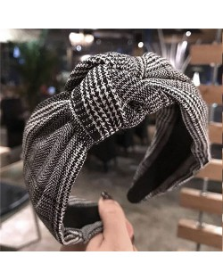 Korean Fashion Lattice Bowknot Design Cloth Women Hair Hoop - Black
