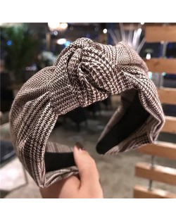 Korean Fashion Lattice Bowknot Design Cloth Women Hair Hoop - Brown