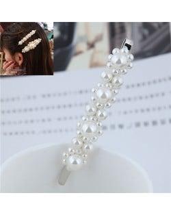 Korean Pearl Fashion Floral Design Women Hair Clip - Silver