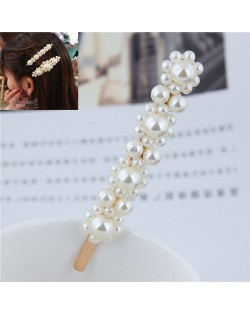 Korean Pearl Fashion Floral Design Women Hair Clip - Golden