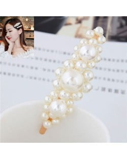 Korean Fashion Graceful Style Pearl Women Hair Clip - Golden