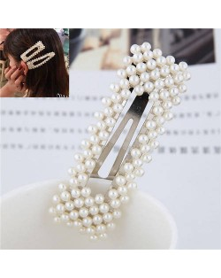 Pearls All-over Design Bar Shape Women Hair Clip - Silver