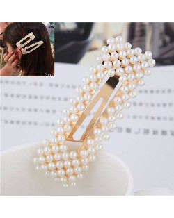Pearls All-over Design Bar Shape Women Hair Clip - Golden