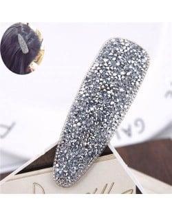 Shining Rhinestone Embellished Bar Shape Hair Barrette - Silver
