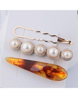 Artificial Amber and Pearl Fashion Women Hair Clips Combo - Brown