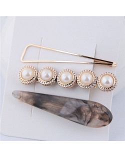 Artificial Amber and Pearl Fashion Women Hair Clips Combo - Black