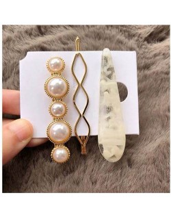 Artificial Amber and Pearl Fashion Women Hair Clips Combo - White
