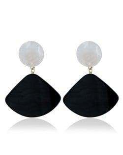 Fan-shape Pendant Button Design Costume Fashion Earrings - Black