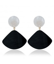 Fan-shape Pendant Button Design Costume Fashion Earrings - Black