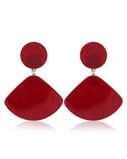 Fan-shape Pendant Button Design Costume Fashion Earrings - Red