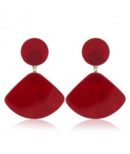 Fan-shape Pendant Button Design Costume Fashion Earrings - Red