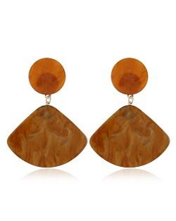 Fan-shape Pendant Button Design Costume Fashion Earrings - Brown