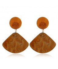 Fan-shape Pendant Button Design Costume Fashion Earrings - Brown