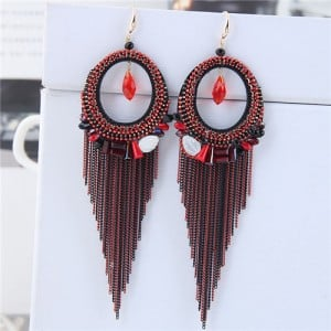 Crystal Hoop with Tassel Chains Design Fashion Earrings - Red