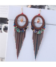 Crystal Hoop with Tassel Chains Design Fashion Earrings - Multicolor