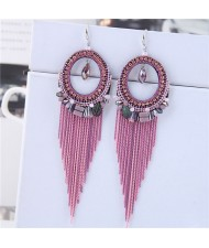 Crystal Hoop with Tassel Chains Design Fashion Earrings - Pink