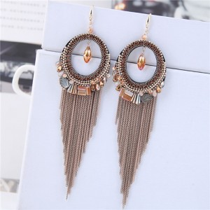 Crystal Hoop with Tassel Chains Design Fashion Earrings - Golden