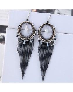 Crystal Hoop with Tassel Chains Design Fashion Earrings - Black