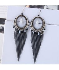 Crystal Hoop with Tassel Chains Design Fashion Earrings - Black