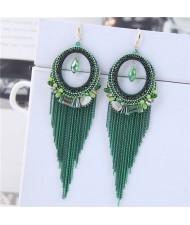 Crystal Hoop with Tassel Chains Design Fashion Earrings - Green