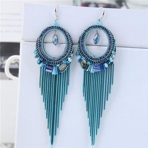 Crystal Hoop with Tassel Chains Design Fashion Earrings - Blue