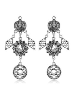 Vintage Floral Pattern Dangling Fashion Earrings - Silver