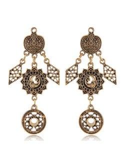 Vintage Floral Pattern Dangling Fashion Earrings - Golden