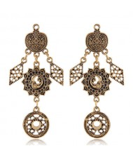Vintage Floral Pattern Dangling Fashion Earrings - Golden