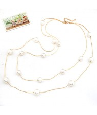 Korean Fashion Scattered Pearls Decorated Dual Layers Necklace