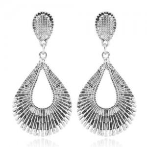 Vintage Style Hollow Waterdrop Shape Fashion Earrings - Silver
