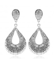 Vintage Style Hollow Waterdrop Shape Fashion Earrings - Silver