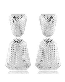 Engraving Alloy High Fashion Women Statement Earrings - Silver