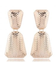 Engraving Alloy High Fashion Women Statement Earrings - Golden