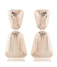 Engraving Alloy High Fashion Women Statement Earrings - Golden