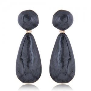 Coarse Texture Waterdrop Design Bold Fashion Women Earrings - Black