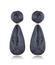 Coarse Texture Waterdrop Design Bold Fashion Women Earrings - Black