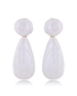 Coarse Texture Waterdrop Design Bold Fashion Women Earrings - White