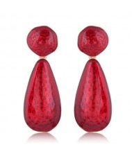 Coarse Texture Waterdrop Design Bold Fashion Women Earrings - Red