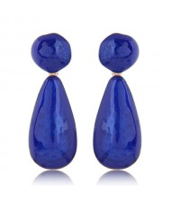 Coarse Texture Waterdrop Design Bold Fashion Women Earrings - Blue