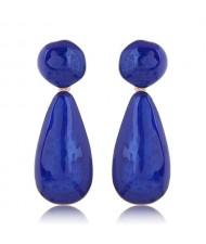 Coarse Texture Waterdrop Design Bold Fashion Women Earrings - Blue