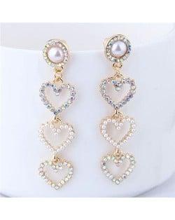 Rhinestone Embellished Triple Dangling Hearts Design Women Fashion Earrings