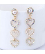 Rhinestone Embellished Triple Dangling Hearts Design Women Fashion Earrings