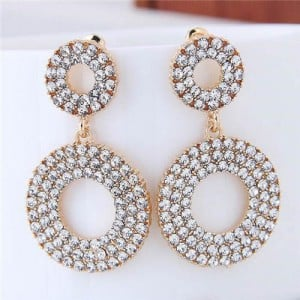 Rhinestone Embellished Dual Hoop Design Golden High Fashion Earrings